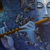 Lord-Radhe-Krishna-Playing-Flute-Blue-Painting-Wallpaper